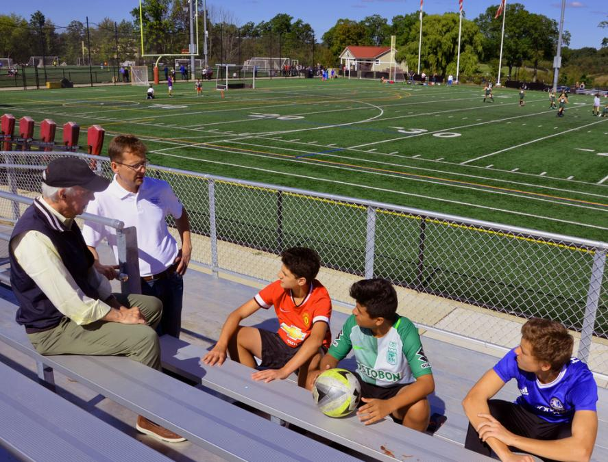Madison 2017 Republican Candidates for Borough Council Denis Schreiber and Ron Hendrickson discuss the playing fields with Madison student athletes at the Madison Recreation Center