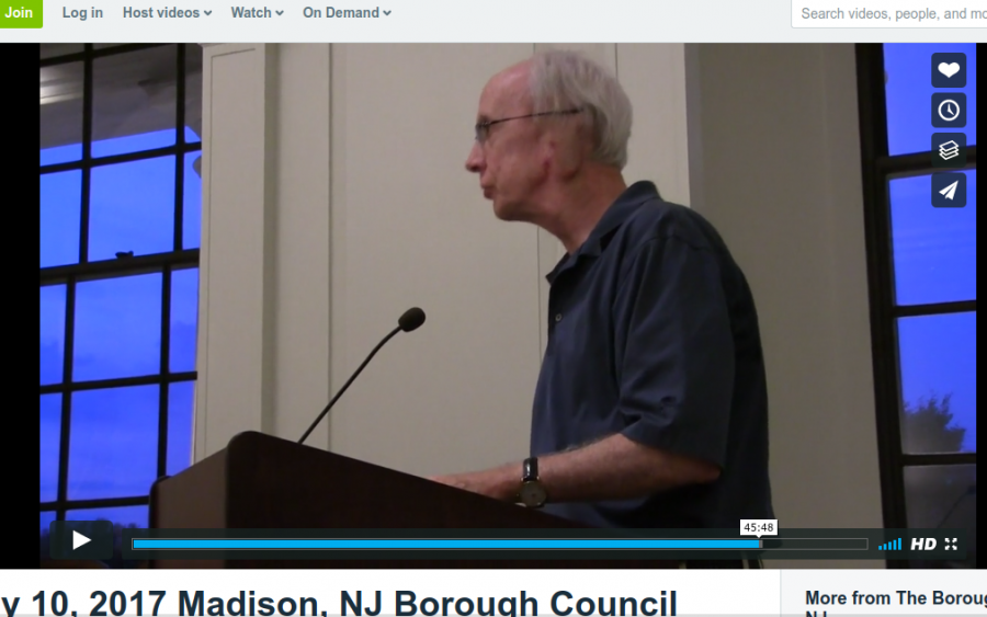 Madison Borough Council Candidate Denis Schreiber asks Borough Council about overcrowding that might have caused the fire at 45 Main Street in February