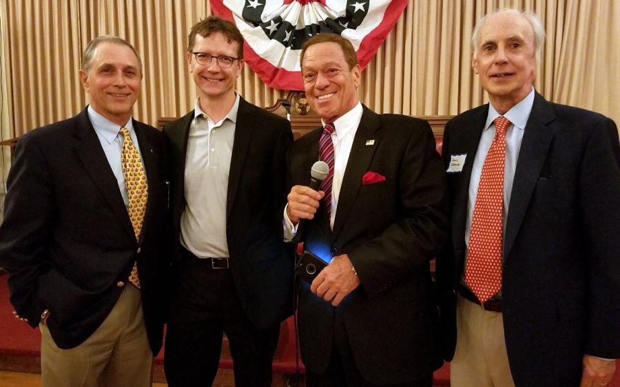 Joe Piscopo chats it up with Madison Republican Committee Chair Joe Falco and 2017 Republican Candidates for Madison Borough Council Ron Hendrickson and Denis Schreiber