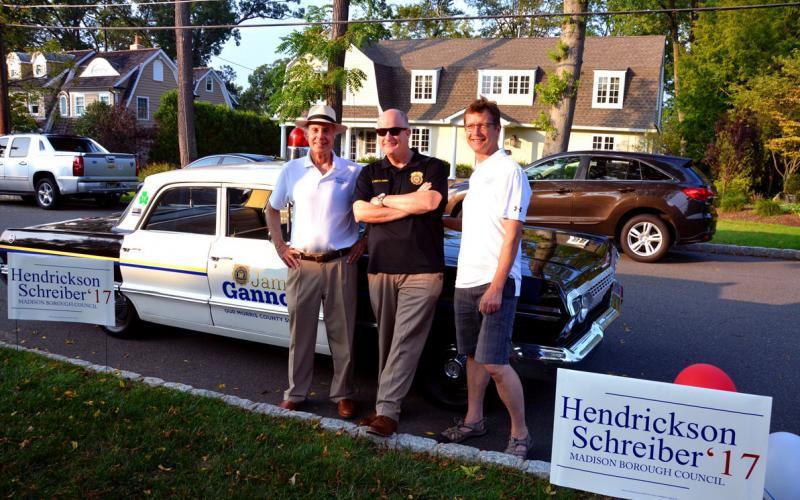 Sheriff Gannon (center) poses in front of his 1963 vintage Chevy Police Squad car  with Madison, NJ 2017 Republican Candidates Denis Schreiber and Ron Hendrickson