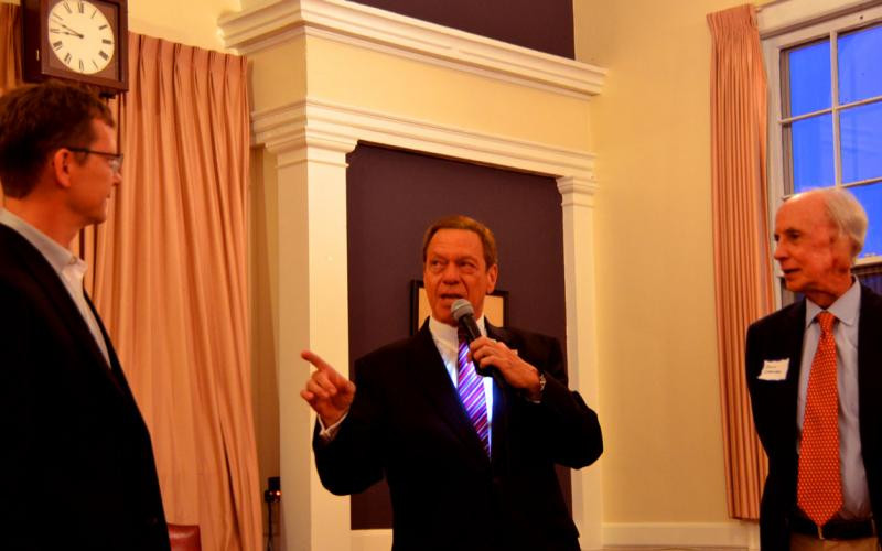 Joe Piscopo giving some tips to Madison 2017 Republican candidates for Borough Council Ron Hendrickson and Denis Schreiber