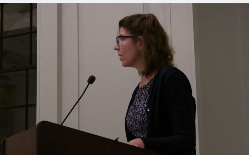 Madison resident Kathy Dailey speaks at the August 14, 2017 Madison NJ Borough Council Meeting