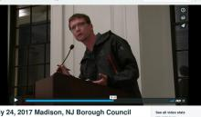 2017 Republican Candidate Ron Hendrickson addresses  Borough Council on the closing of Bowtie Cinema in Madison, NJ