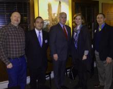 Madison Council Member Pat Rowe, Chatham Twp Chair Tayfun Selen, Sheriff Gannon, Assemblywoman Nancy Munoz, and Madison Chair Joe Falco