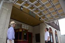 Madison Republican Candidates for Borough Council Denis Schreiber (l) and Ron Hendrickson (r) admire the vaulted ceiling of the marquis at the recently closed Bowtie Cinema in Madison, NJ