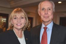 Lt. Governor and GOP Gubernatorial Candidate Kim Guadagno Confers with Madison GOP 2017 Borough Council Candidate Denis Schreiber at September 7th, 2017 Gathering